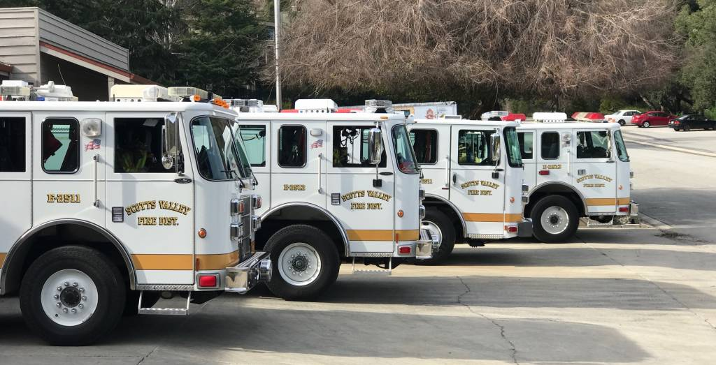 Four Scotts Valley Fire District engines lined up