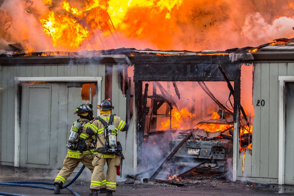 Scotts Valley Firefighters putting out a structure fire