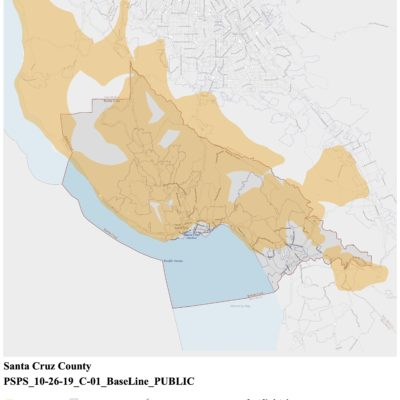 PG&E Public Safety Power Shutoff map for October 26-28 2019